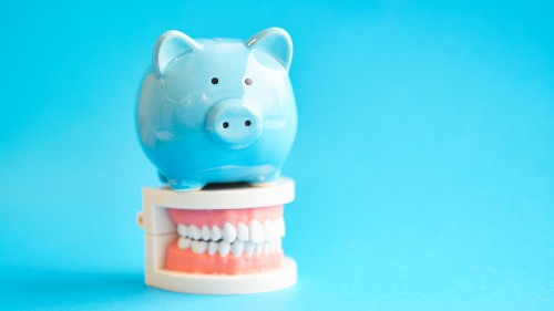 A piggy bank sits on top of a model set of teeth to represent affordable dentistry.