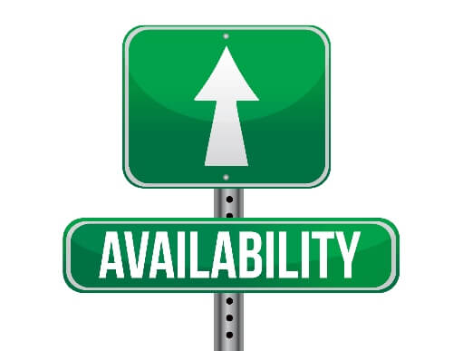 A road sign with an arrow pointed ahead has the label of availability, meaning availability leads to success.